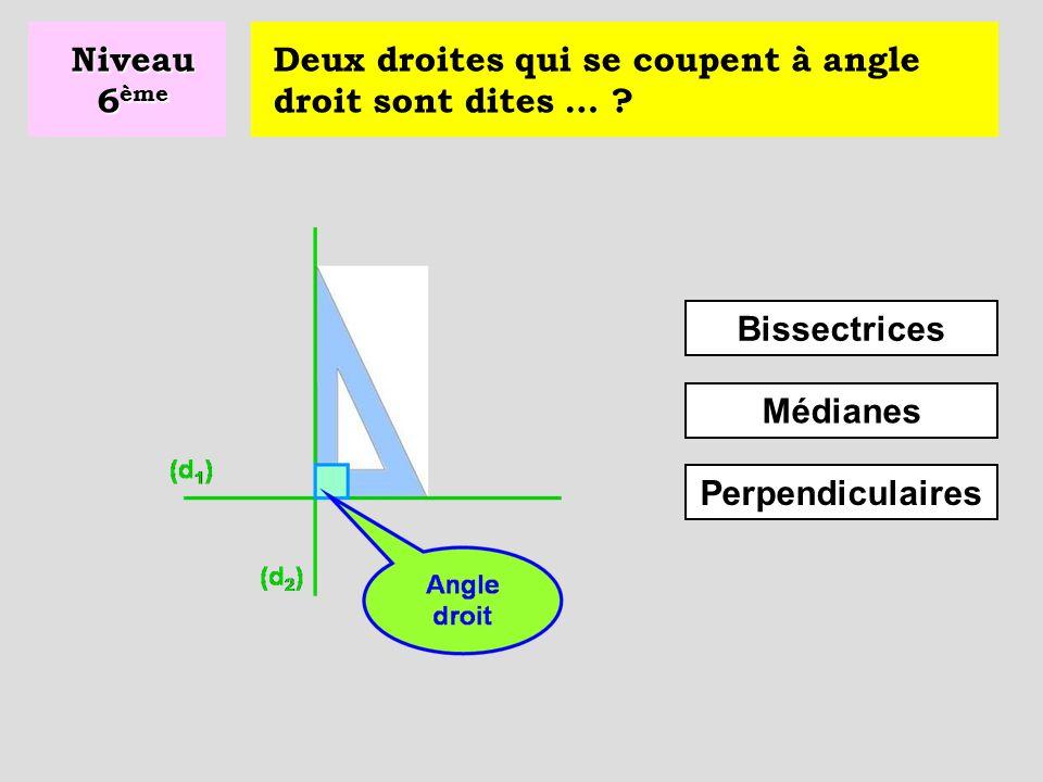 Niveau 6ème Deux droites qui se coupent à angle droit sont dites … .