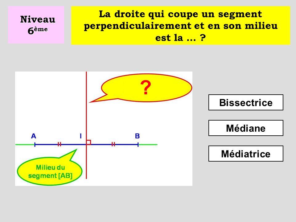 Niveau 6ème La droite qui coupe un segment perpendiculairement et en son milieu est la … Bissectrice.