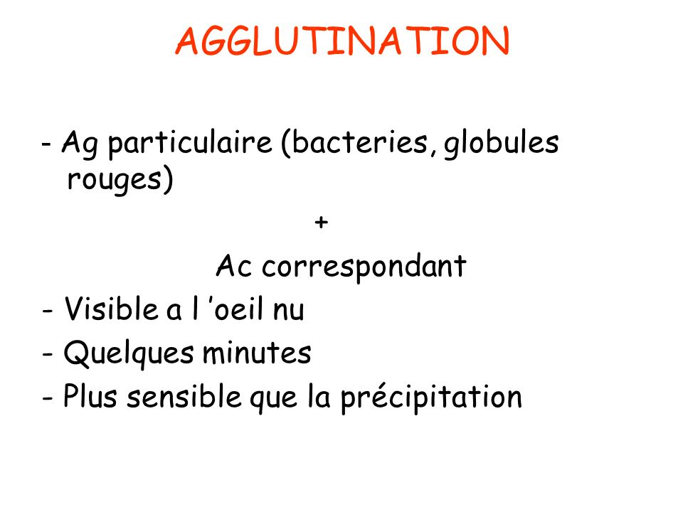 AGGLUTINATION - Ag particulaire (bacteries, globules rouges) +