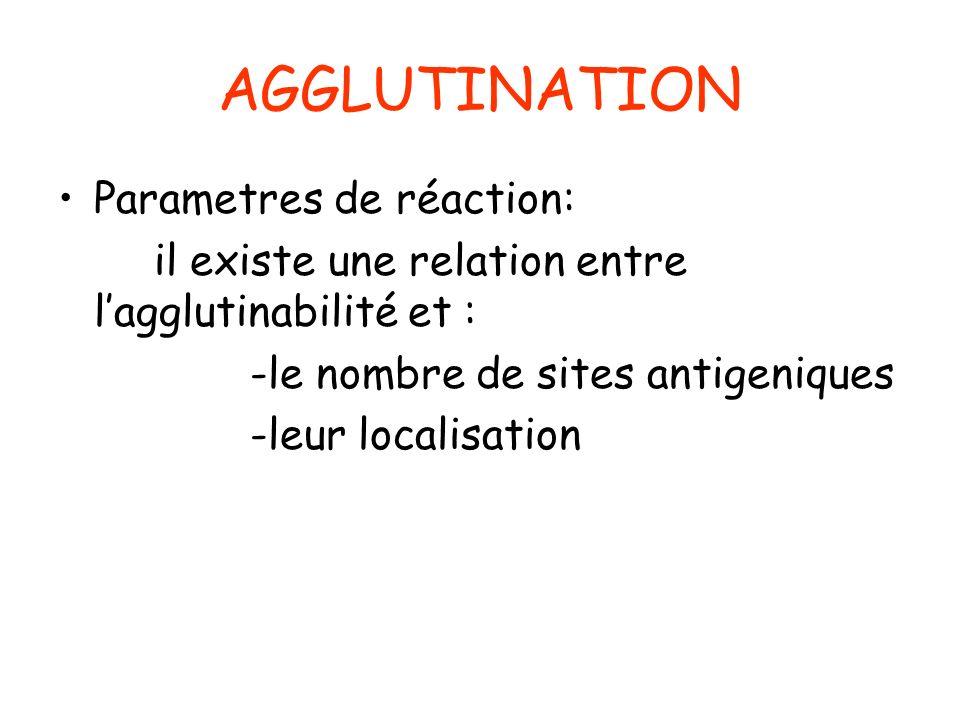 AGGLUTINATION Parametres de réaction:
