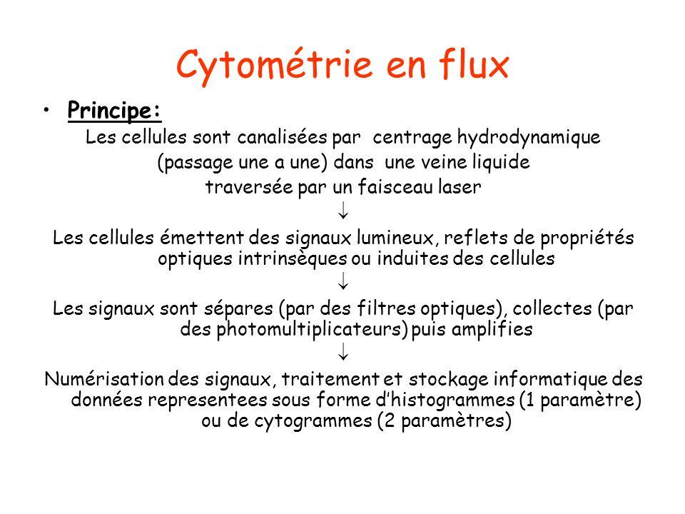 Cytométrie en flux Principe: