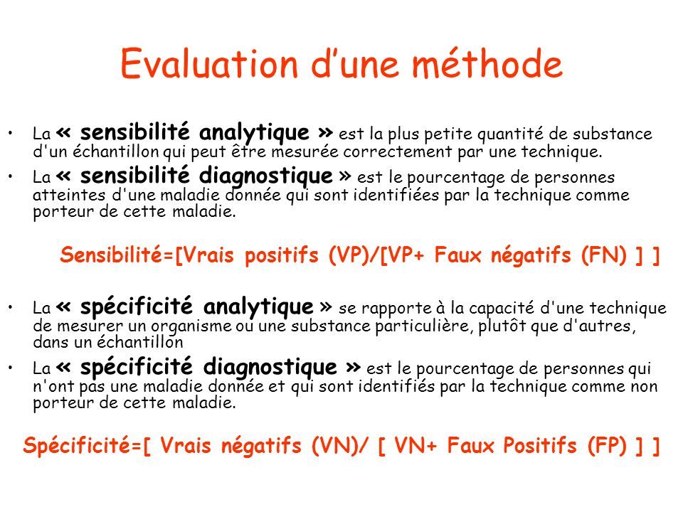 Evaluation d'une méthode