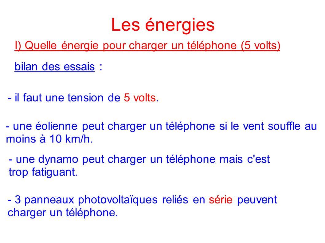 Les énergies I) Quelle énergie pour charger un téléphone (5 volts)