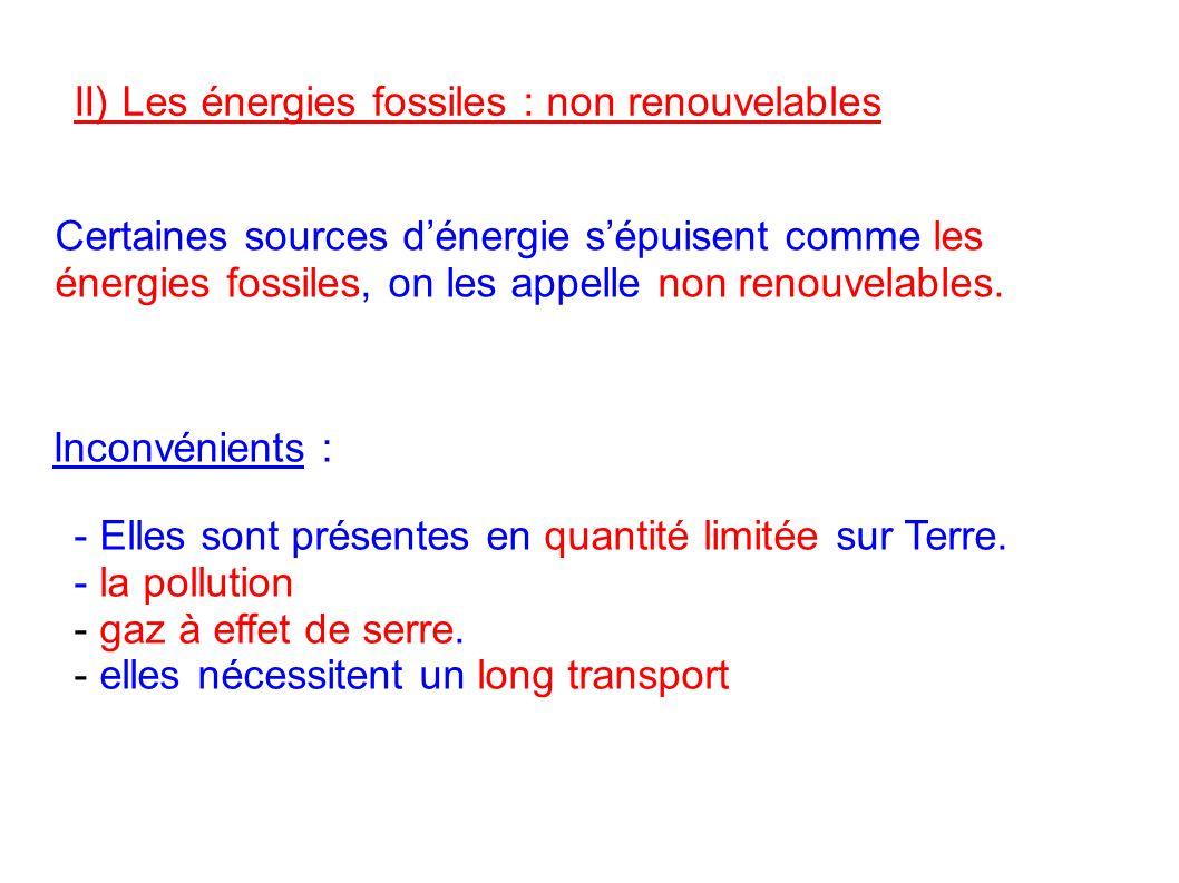 II) Les énergies fossiles : non renouvelables