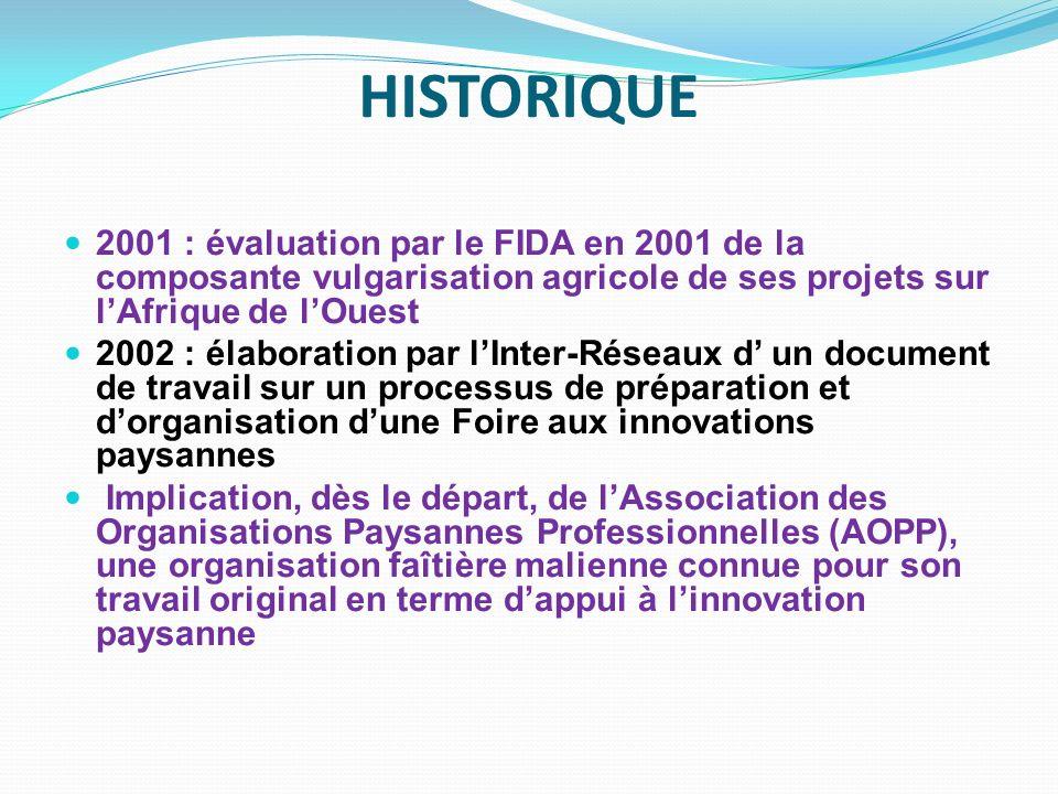 HISTORIQUE2001 : évaluation par le FIDA en 2001 de la composante vulgarisation agricole de ses projets sur l'Afrique de l'Ouest.