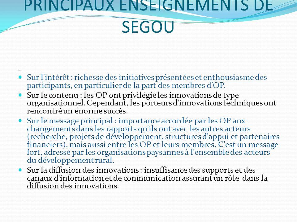 PRINCIPAUX ENSEIGNEMENTS DE SEGOU