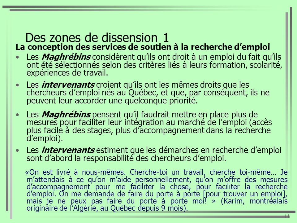 Des zones de dissension 1