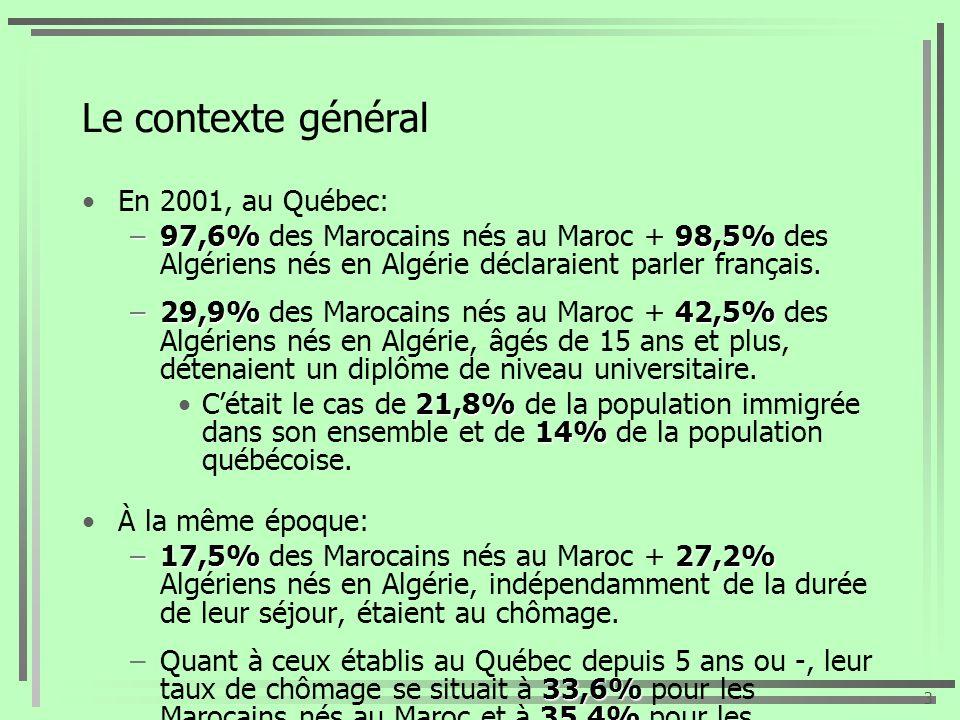 Le contexte général En 2001, au Québec: