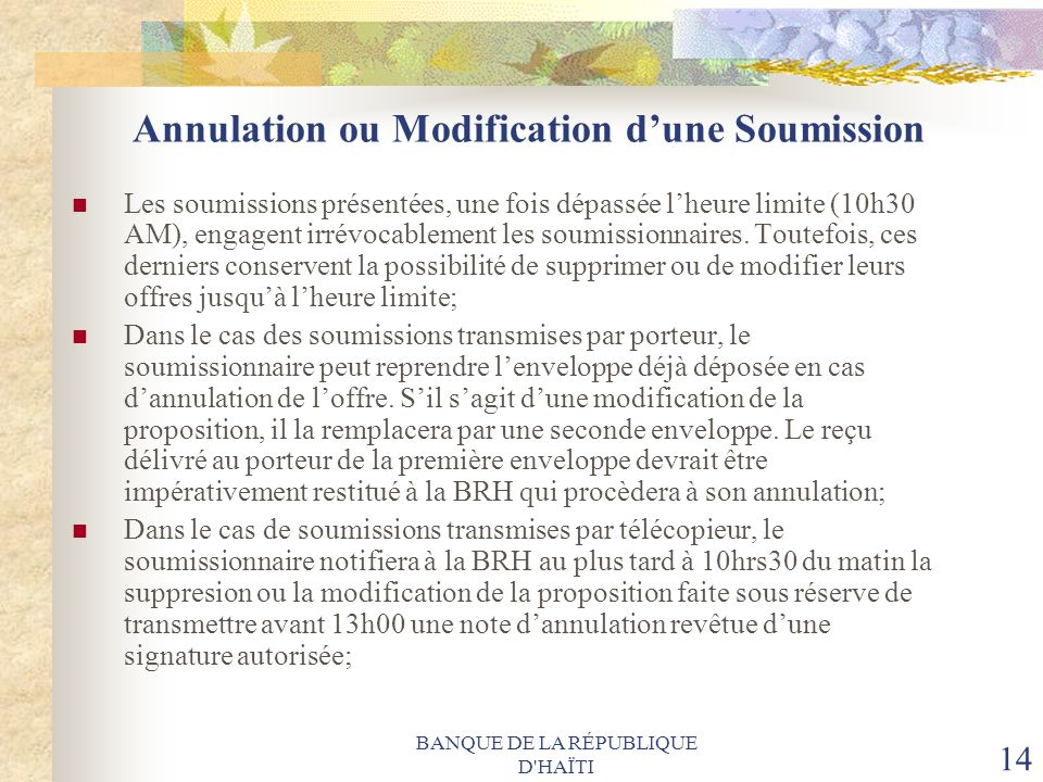 Annulation ou Modification d'une Soumission