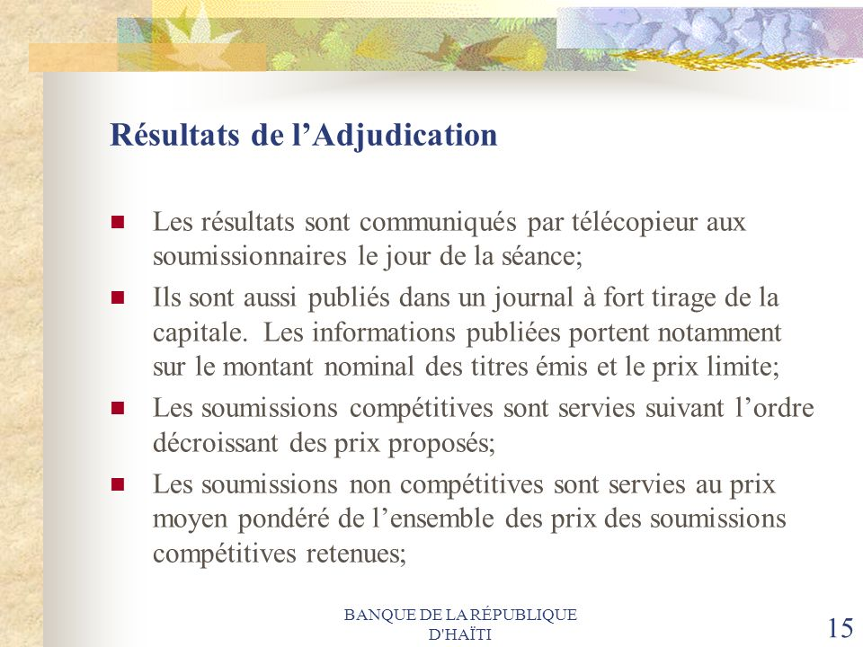 Résultats de l'Adjudication