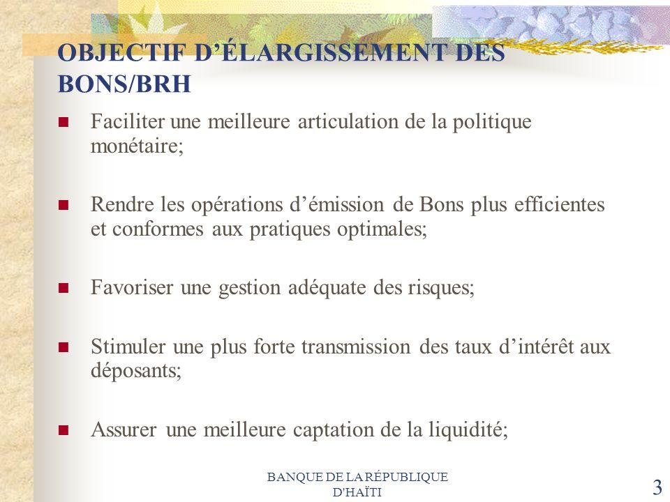 OBJECTIF D'ÉLARGISSEMENT DES BONS/BRH