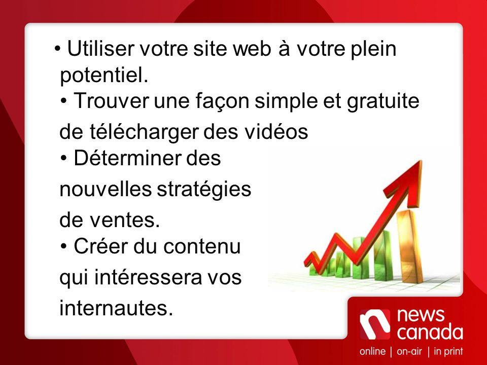• Utiliser votre site web à votre plein potentiel