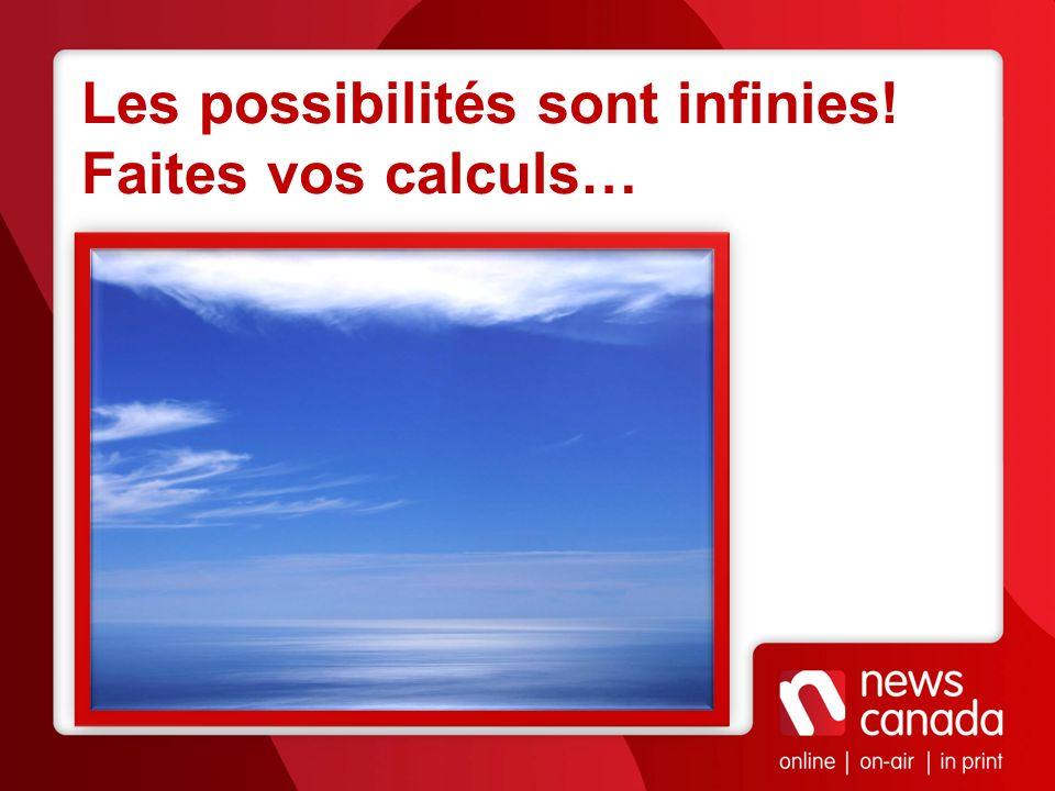 Les possibilités sont infinies! Faites vos calculs…