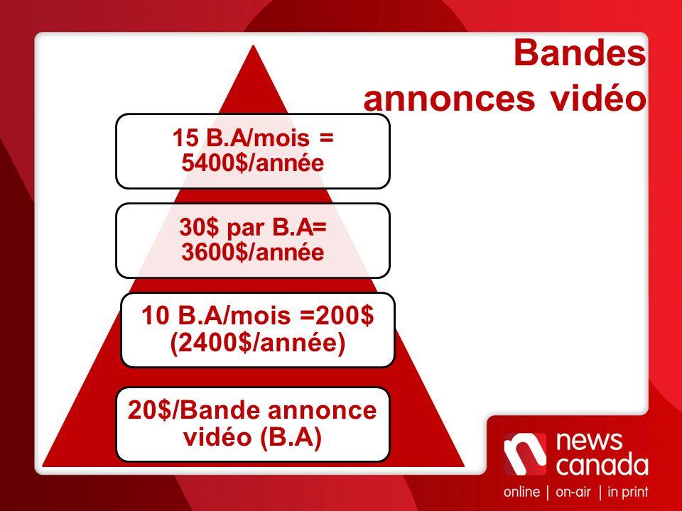 20$/Bande annonce vidéo (B.A)