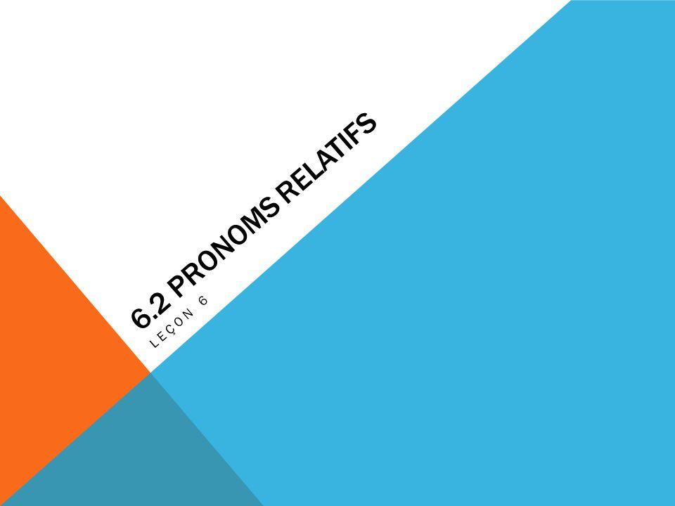 6.2 Pronoms Relatifs Leçon 6