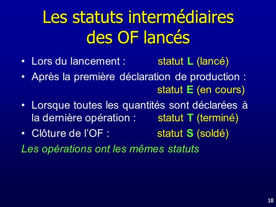 Les statuts intermédiaires des OF lancés