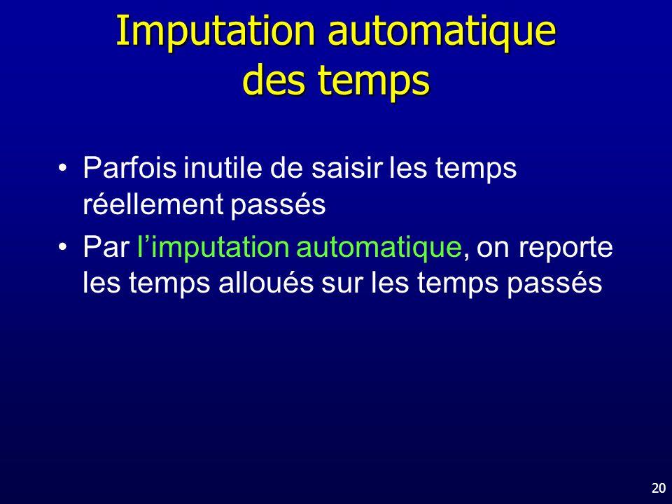 Imputation automatique des temps