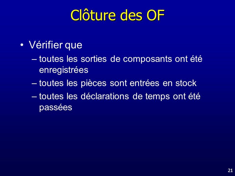 Clôture des OF Vérifier que