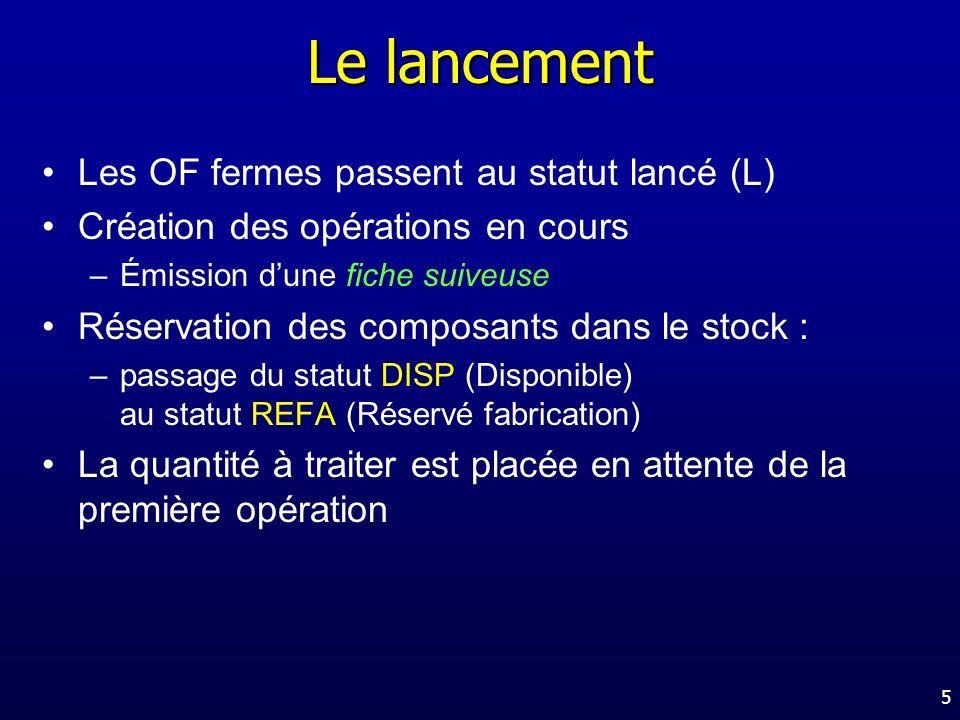 Le lancement Les OF fermes passent au statut lancé (L)