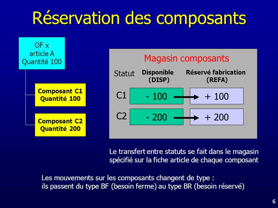 Réservation des composants