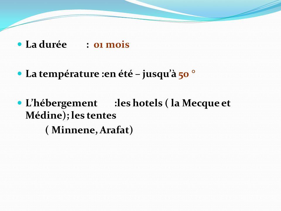 La durée : 01 moisLa température :en été – jusqu'à 50 ° L'hébergement :les hotels ( la Mecque et Médine); les tentes.