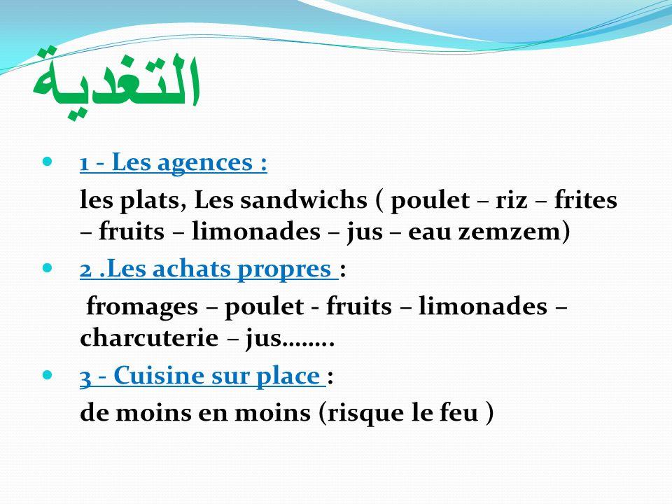 التغدية 1 - Les agences : les plats, Les sandwichs ( poulet – riz – frites – fruits – limonades – jus – eau zemzem)