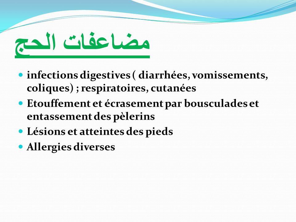 مضاعفات الحجinfections digestives ( diarrhées, vomissements, coliques) ; respiratoires, cutanées.
