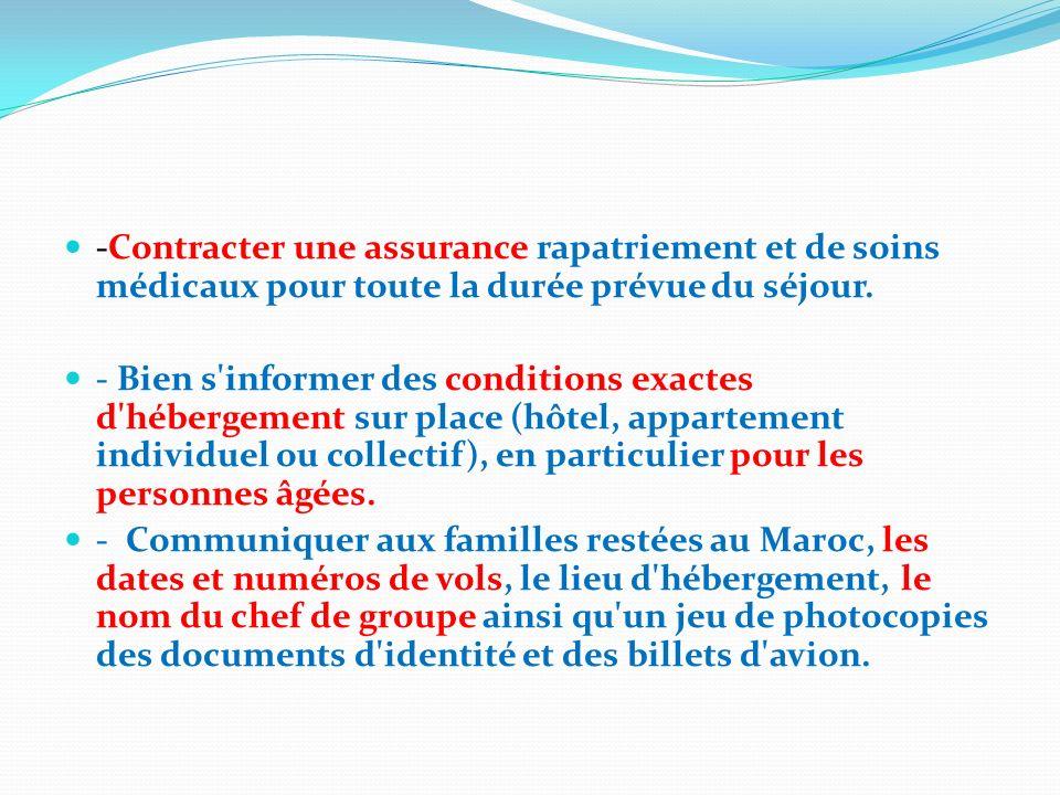 -Contracter une assurance rapatriement et de soins médicaux pour toute la durée prévue du séjour.