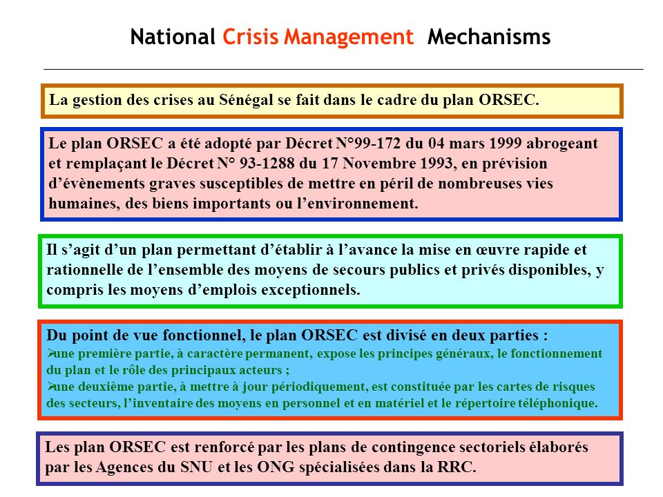 National Crisis Management Mechanisms
