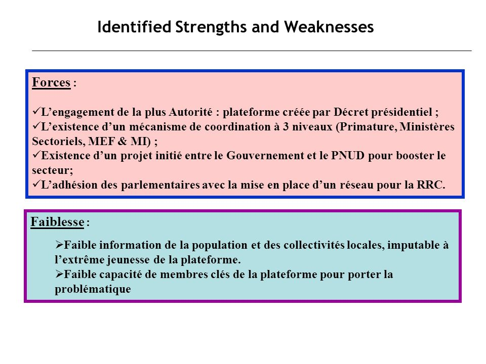 Identified Strengths and Weaknesses