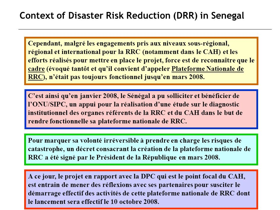 Context of Disaster Risk Reduction (DRR) in Senegal