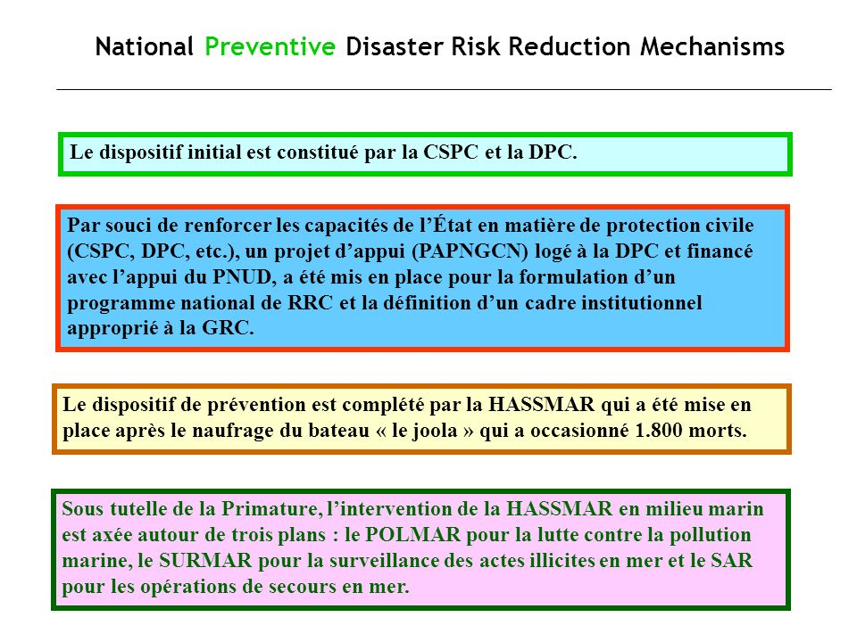 National Preventive Disaster Risk Reduction Mechanisms