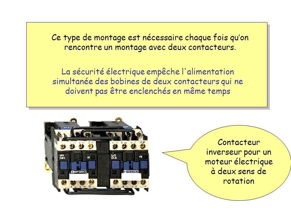Contacteur inverseur pour un moteur électrique à deux sens de rotation