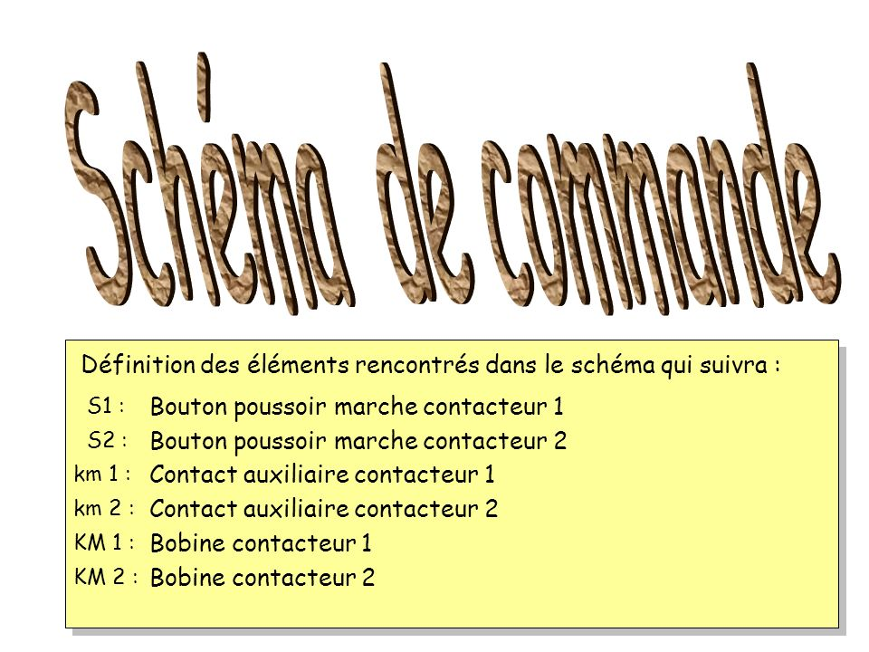 Schéma de commande Définition des éléments rencontrés dans le schéma qui suivra : S1 : Bouton poussoir marche contacteur 1.