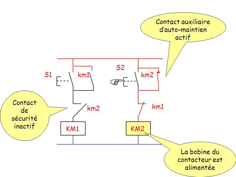  Contact auxiliaire d'auto-maintien actif S2 S1 km1 km2
