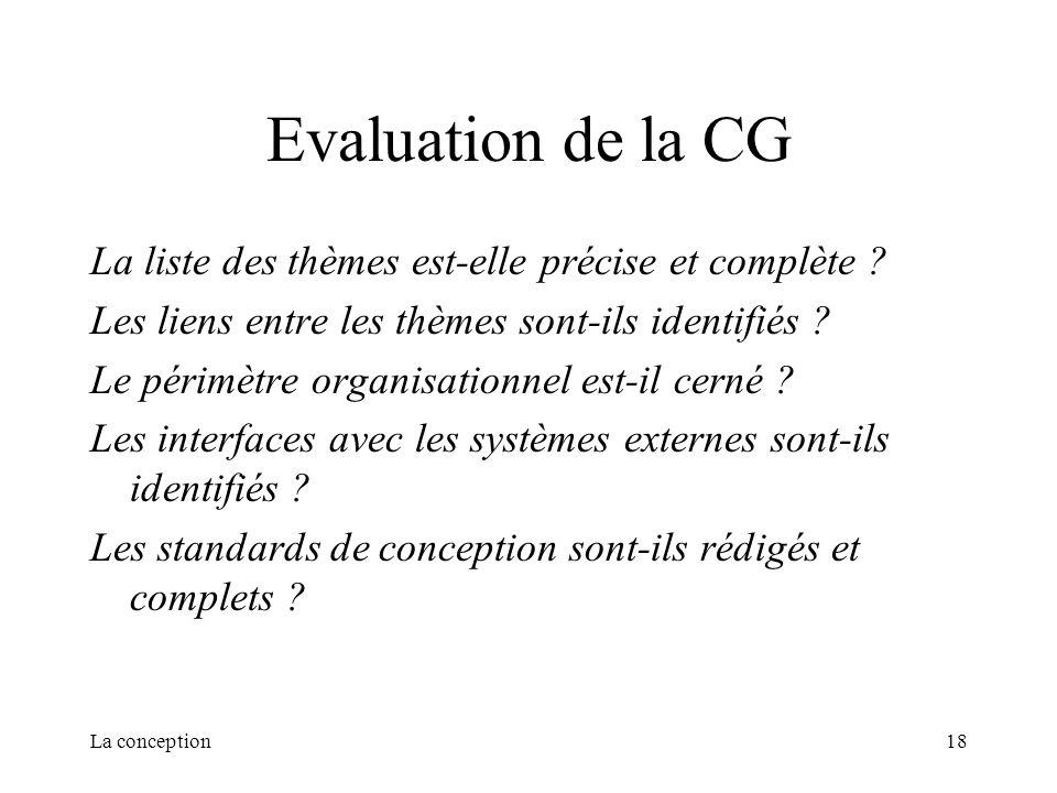 Evaluation de la CG La liste des thèmes est-elle précise et complète