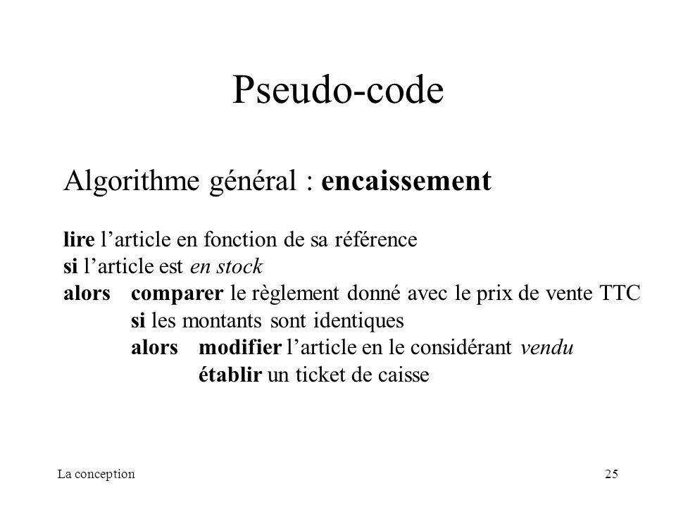 Pseudo-code Algorithme général : encaissement
