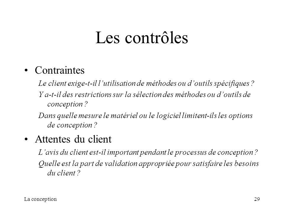 Les contrôles Contraintes Attentes du client