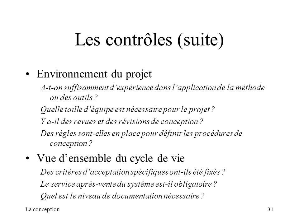 Les contrôles (suite) Environnement du projet