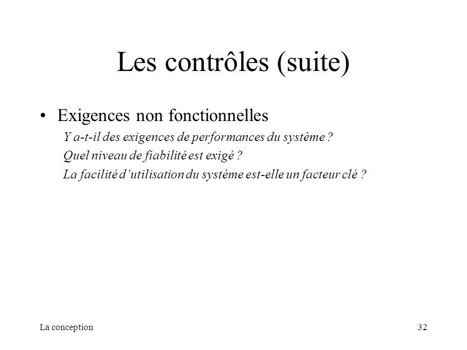 Les contrôles (suite) Exigences non fonctionnelles