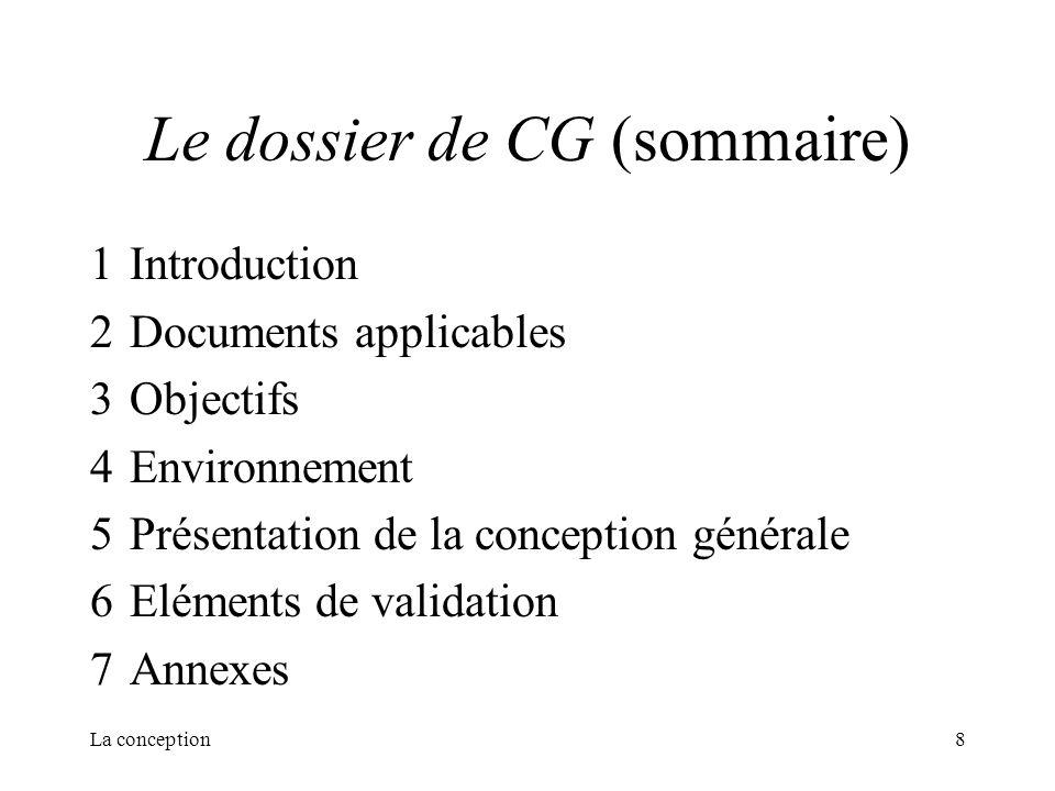 Le dossier de CG (sommaire)
