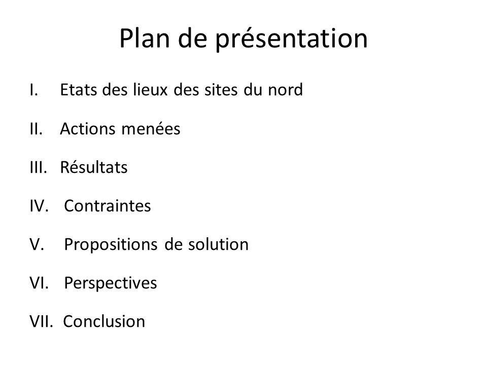 Plan de présentation Etats des lieux des sites du nord Actions menées