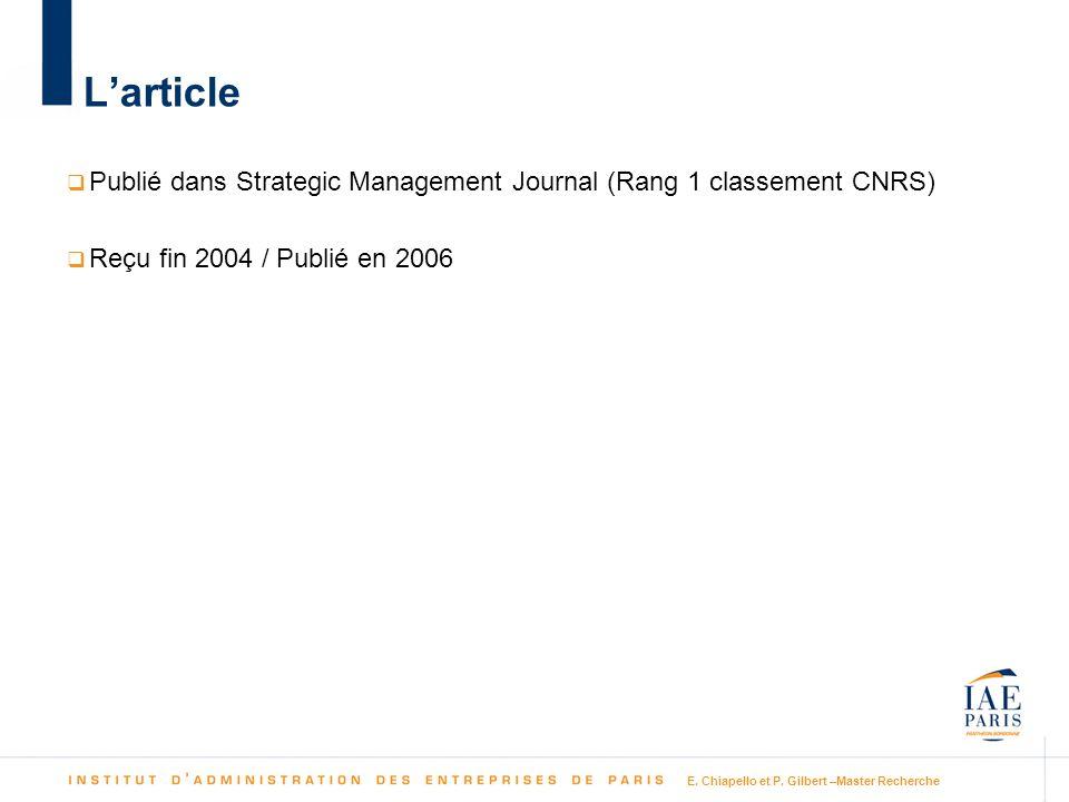 L'article Publié dans Strategic Management Journal (Rang 1 classement CNRS) Reçu fin 2004 / Publié en 2006.
