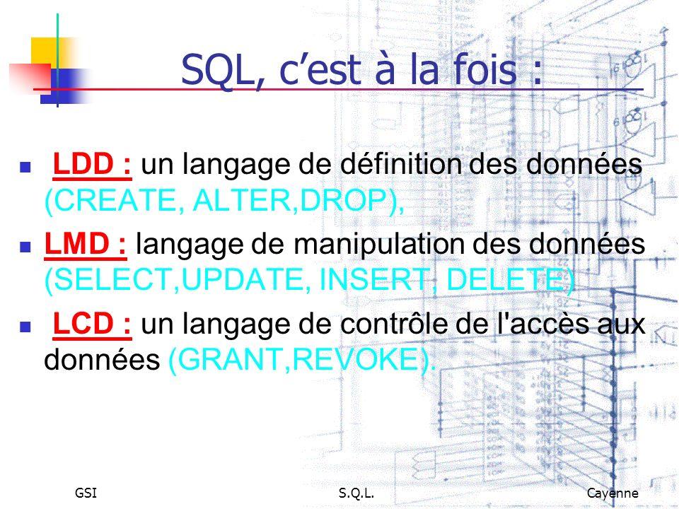 SQL, c'est à la fois : LDD : un langage de définition des données (CREATE, ALTER,DROP),