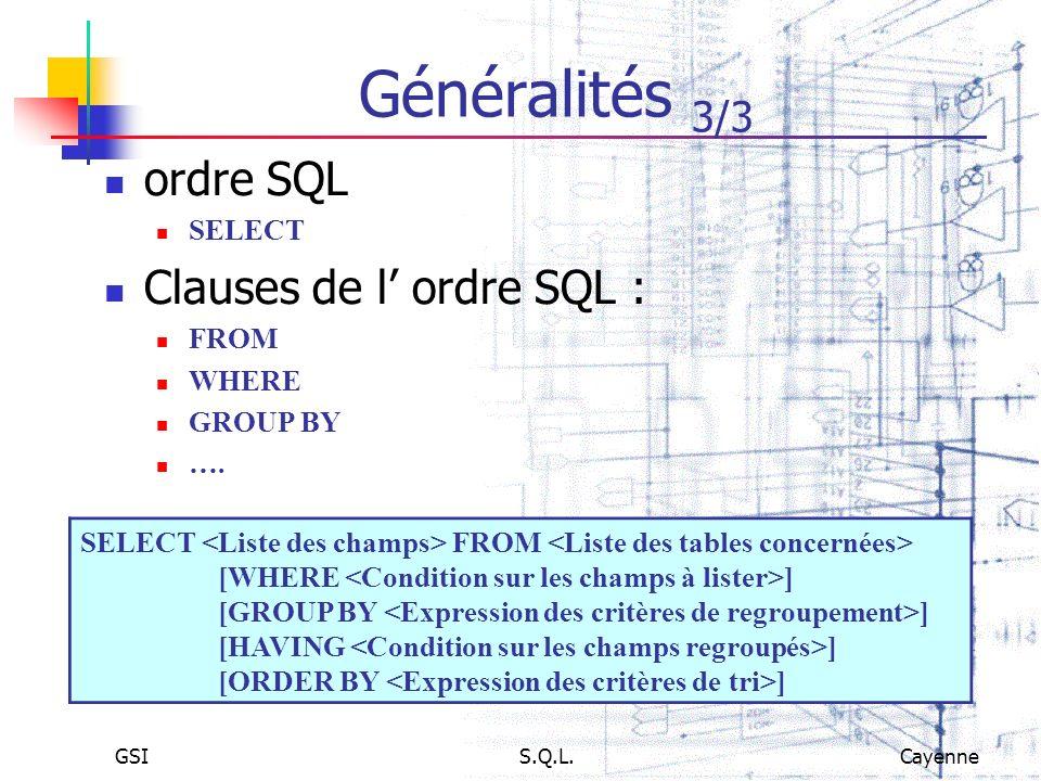 Généralités 3/3 ordre SQL Clauses de l' ordre SQL : SELECT FROM WHERE