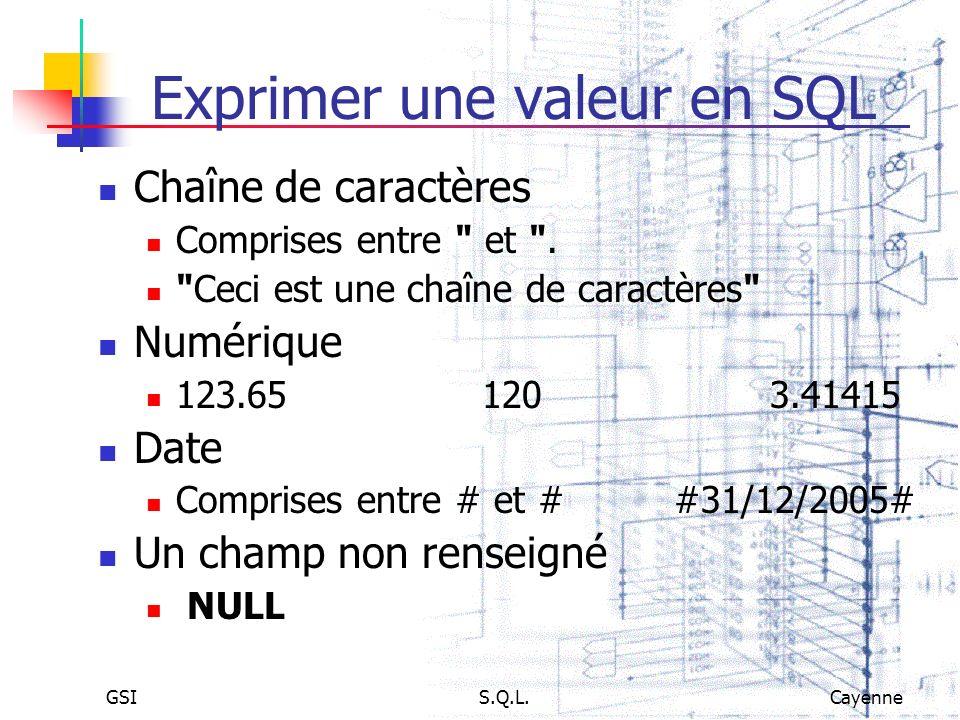Exprimer une valeur en SQL