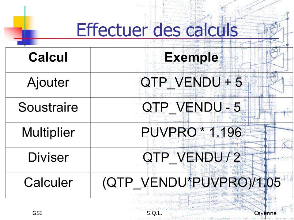 Effectuer des calculs Calcul Exemple Ajouter QTP_VENDU + 5 Soustraire