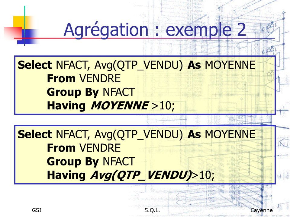 Agrégation : exemple 2Select NFACT, Avg(QTP_VENDU) As MOYENNE From VENDRE. Group By NFACT. Having MOYENNE >10;