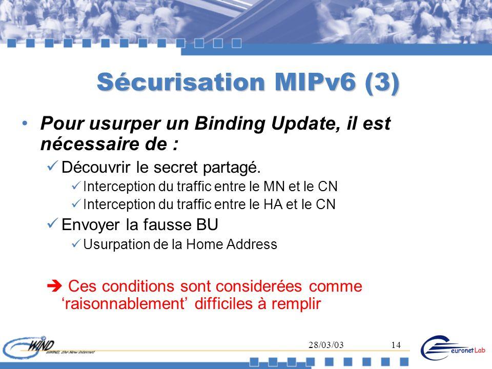 Sécurisation MIPv6 (3) Pour usurper un Binding Update, il est nécessaire de : Découvrir le secret partagé.