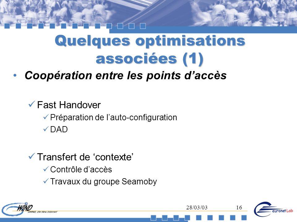 Quelques optimisations associées (1)